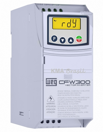 INVERSOR DE FREQUÊNCIA CFW300 0,5CV - ENT: MONO/BIFÁSICO 220V - SAÍDA: TRIFÁSICO 220V - WEG 13059320