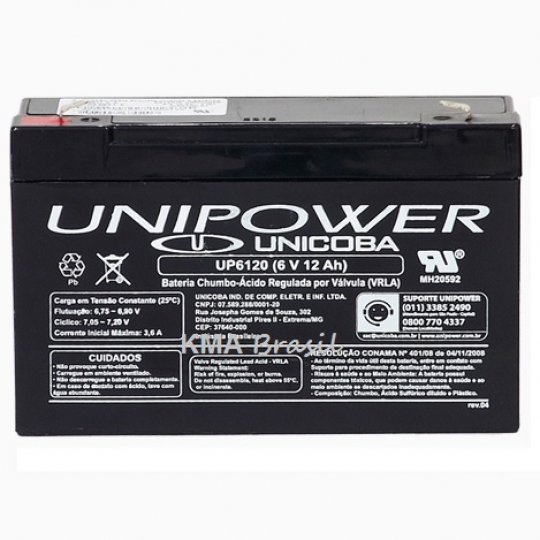 BATERIA SELADA 6V 12AH UNIPOWER UP6120
