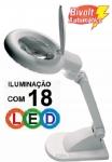 LUPA DE MESA COM ILUMINAÇÃO POR 18 LED -AUMENTA 3 VEZES ou 12 VEZES (BIFOCAL)- HIKARI SOLVER HL-200